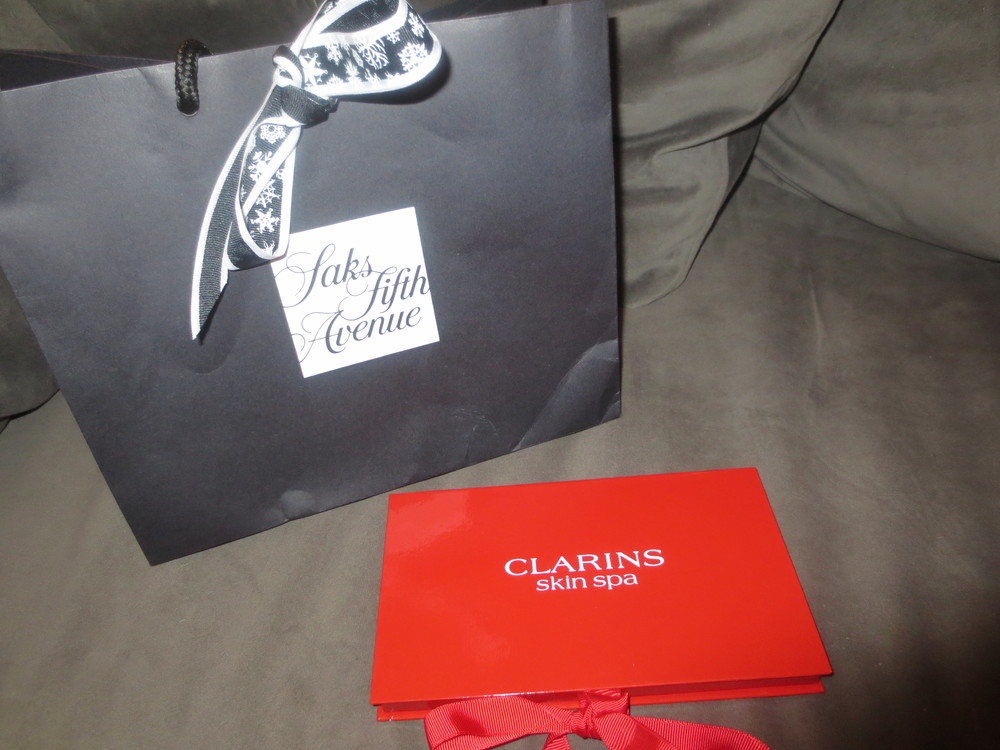 Thank you Saks and Clarins for a wonderful night. (And for my treats!)