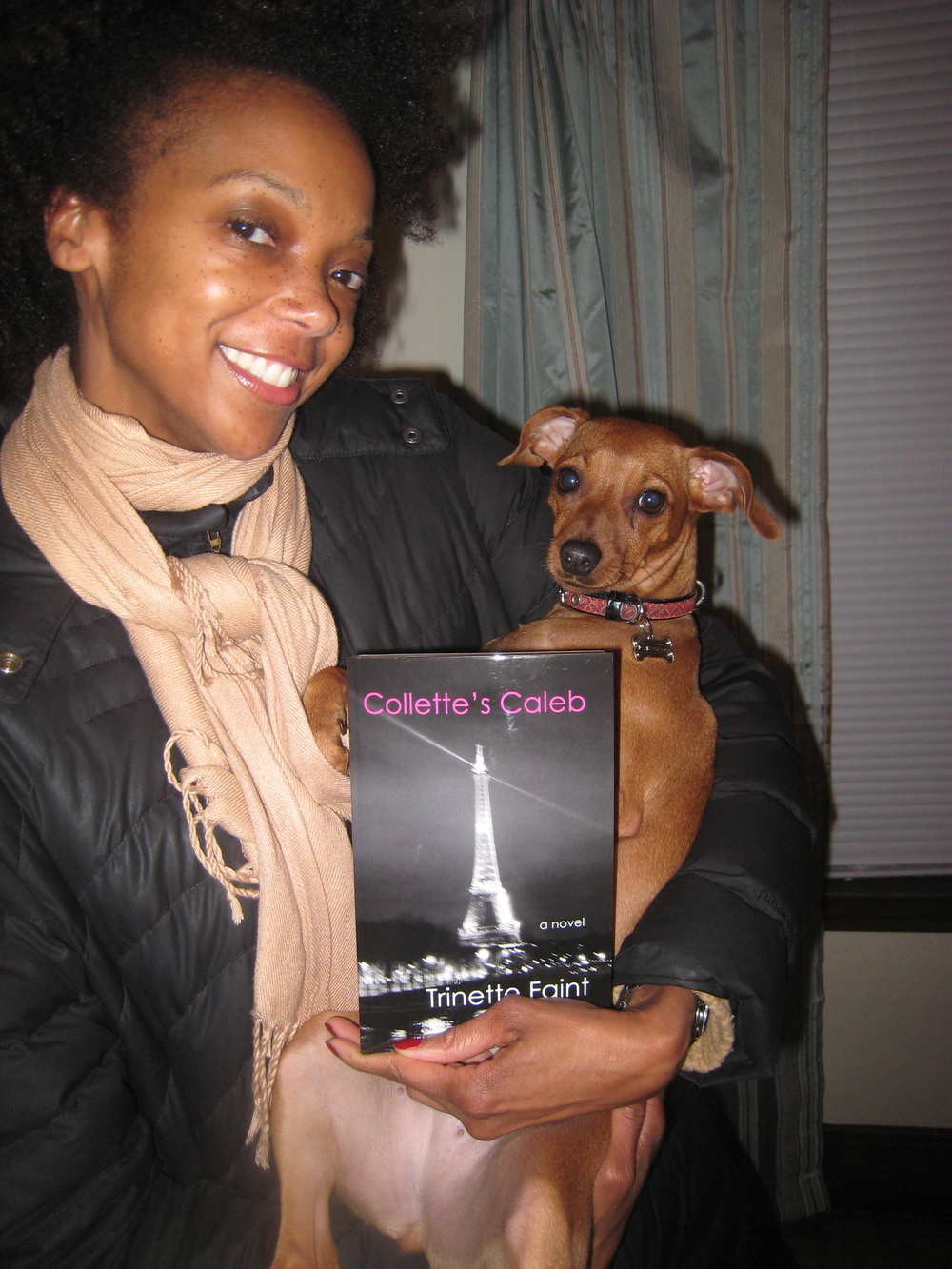 Avery poses with my  novel .