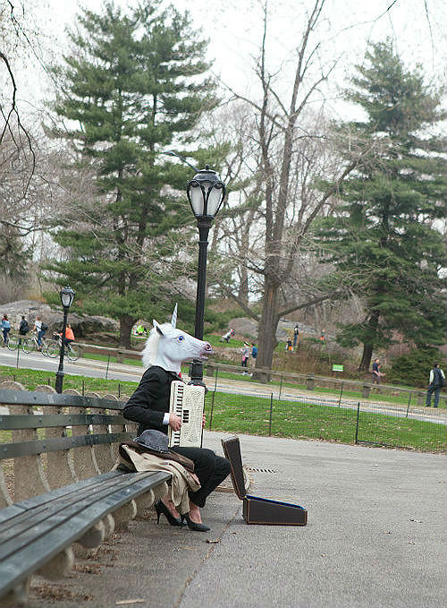 Just a unicorn playing the same three songs on the accordion in Central Park. PS. unicorn head can be found at  Urban Outfitters . Not kidding.