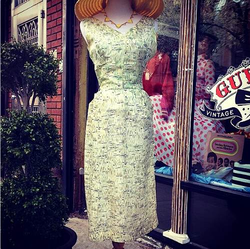 Guvnor's Vintage , first of all, has the most adorable staff dressed in 50's garb. The Guv, as they say, has everything from vintage bathing suits, leather jackets and high wasted pants to shift dresses, accessories, aztec blankets, etc.