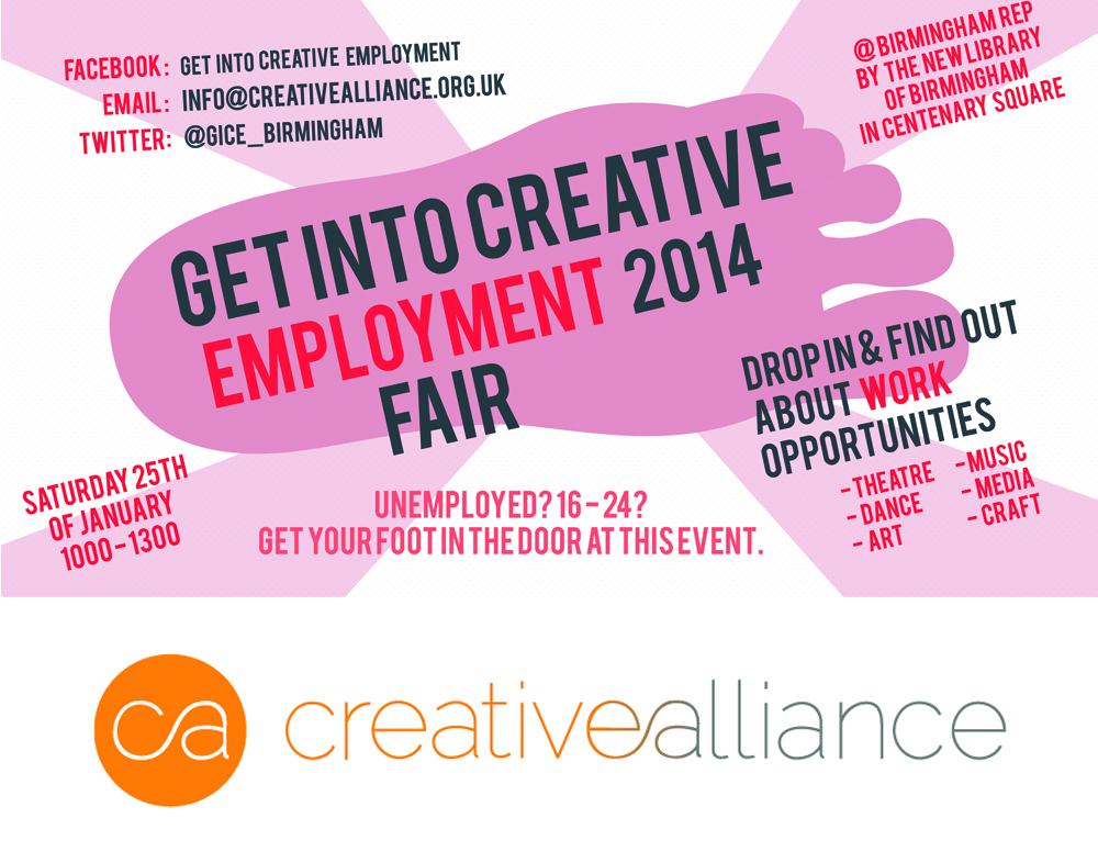 Creative Alliance Event Coordinator for 'Get Into Creative Employment' January 25th 2014
