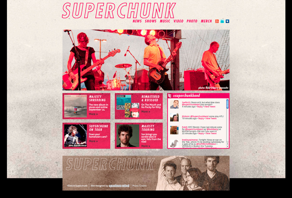 Superchunk website.  Photo of the band performing live, featured on their homepage.
