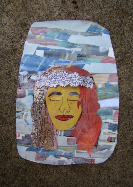 Self Portrait- I Wish I Was A Flower Child  Magazine Paper, Modge Podge, Ballpoint Pen.
