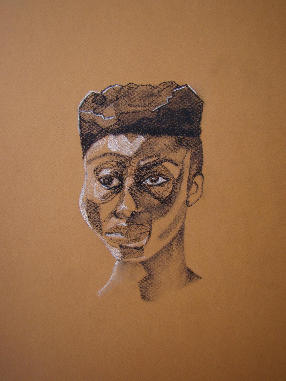 Tribal Woman  Graphite, Black & white Charcoal.