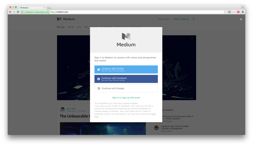 Medium's authentication modal