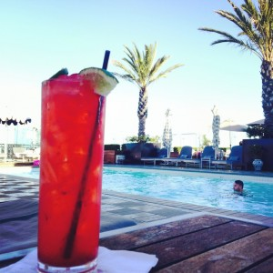A cocktail by the pool at The London West Hollywood.