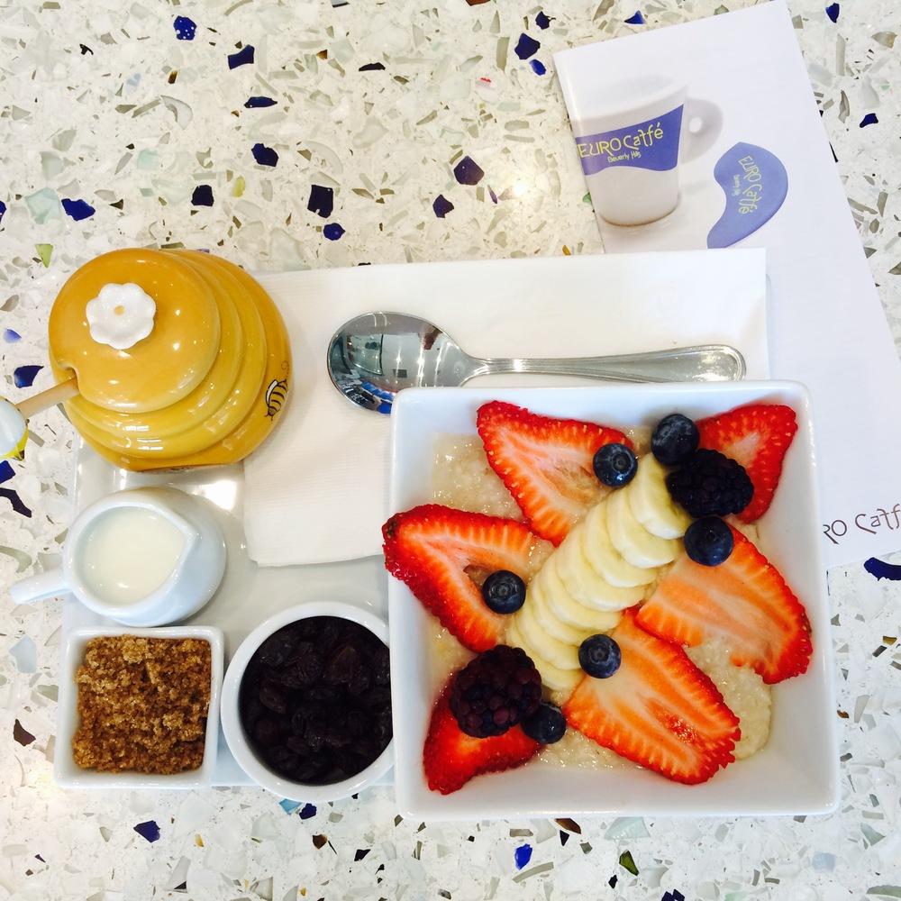 Breakfast oatmeal at Euro Caffe.