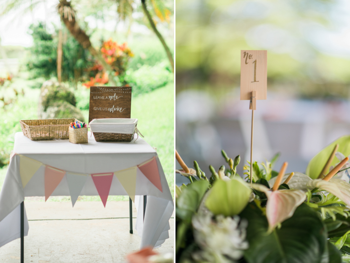 DIY wedding elements made by the bride from a Hawaiian wedding on Oahu.