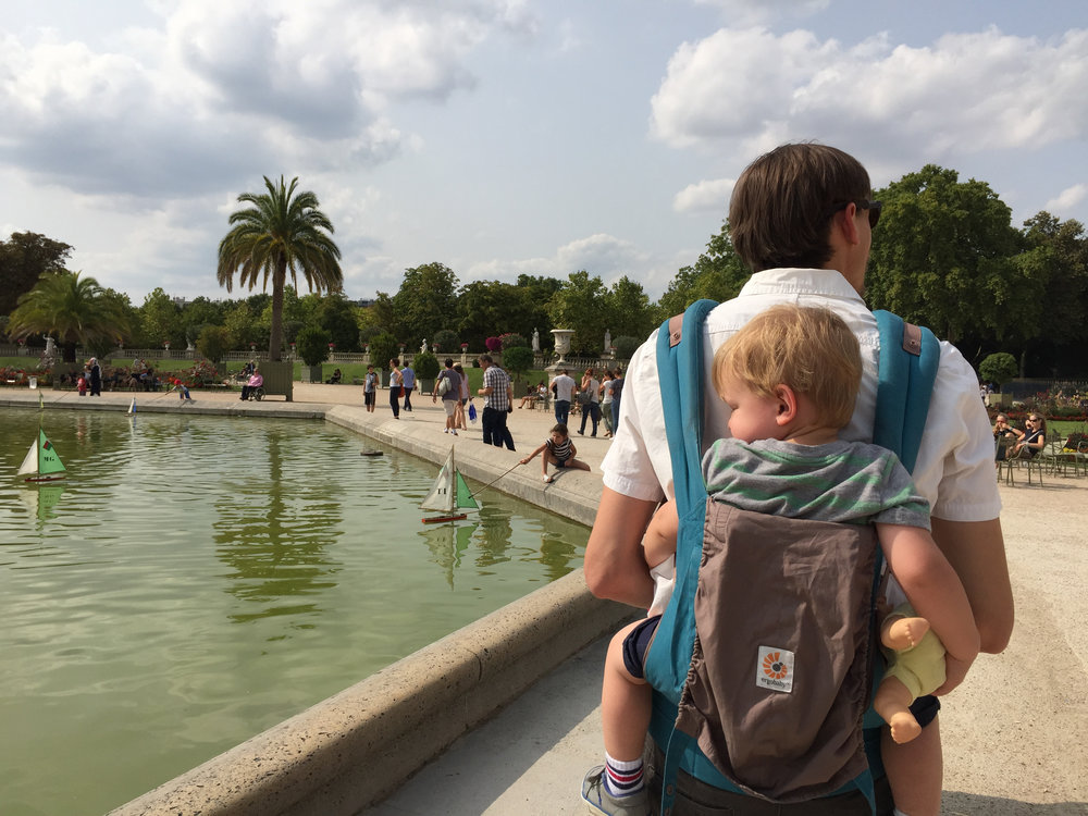 Day 1 in Paris, and our little guy was passed out hard from the time change on daddy's back.