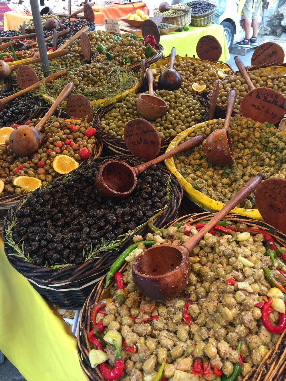 Olives upon olives at a mid-week open market.