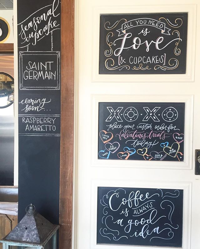 the chalkboard door is officially ready for Valentine's season at @birdbakery! it's amazing what can get done without a tiny girl wanting to help....