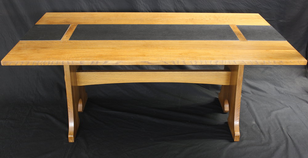 oak dining table side view.JPG