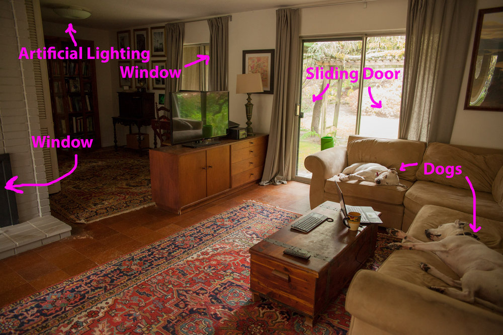 Observation of the existing space, including possible light sources.