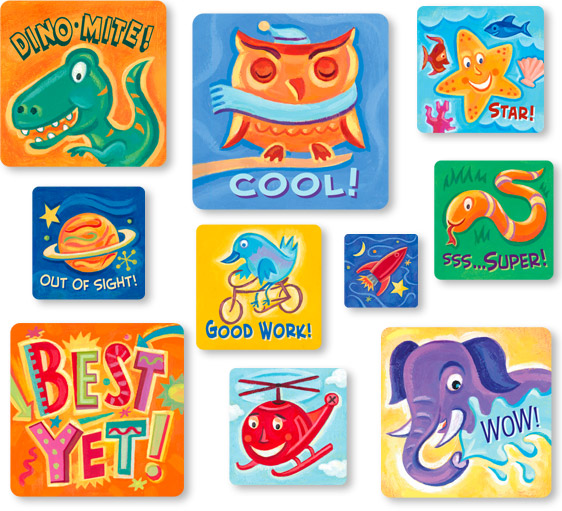 Kids stickers illustrations for highlights for children sean kane illustration