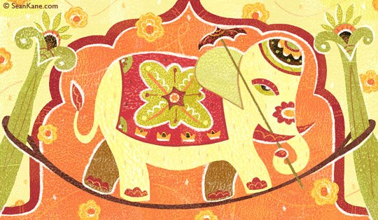 Bollywood Elephant art by Sean Kane