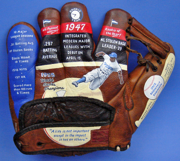 Baseball Glove Art featuring Jackie Robinson 42