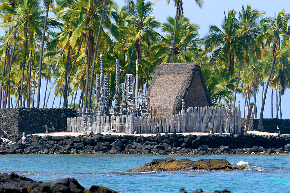 City of Refuge (Puuhonua O Honaunau) in Hōnaunau Bay on the West side of the island