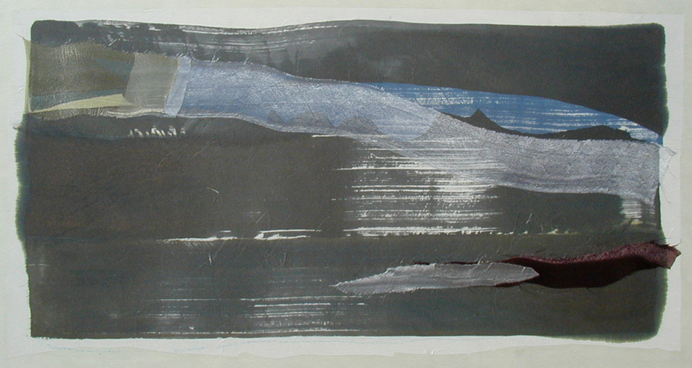 """Mountains & Sea"" – Tan & Blue on Copper, 2003"