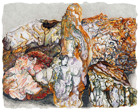 Jan Aronson, While Rome Burns Rocks #4, 2007, watercolor, gouache, oil pastel & graphite on paper, 17 x 21 inches