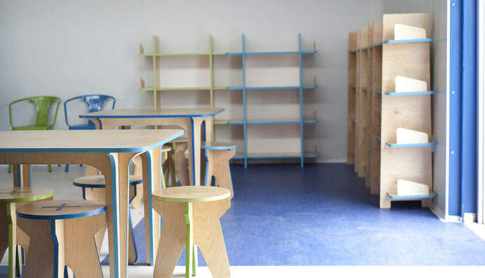 SMALL shelves with kids tables & stools