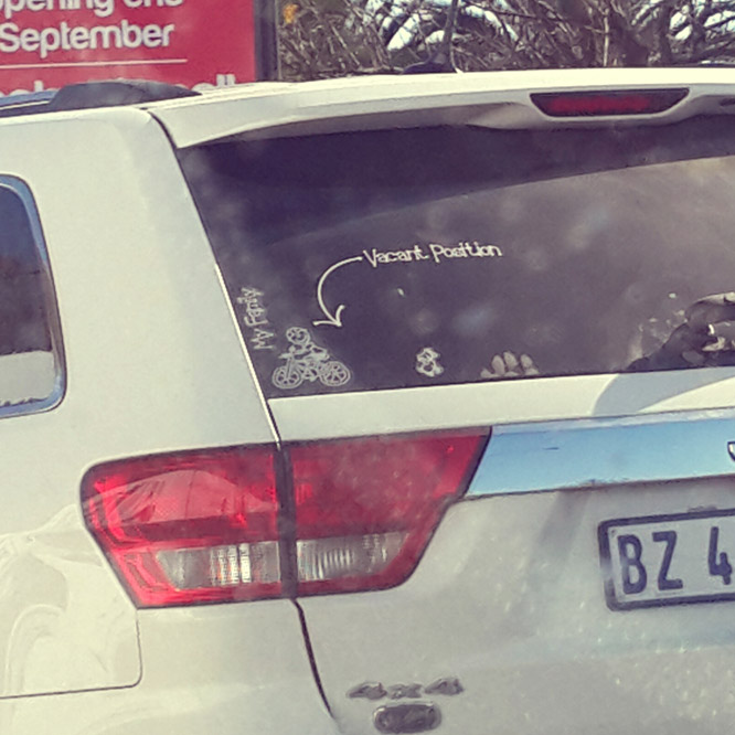 MOS on the road... Funny sticker arrangement