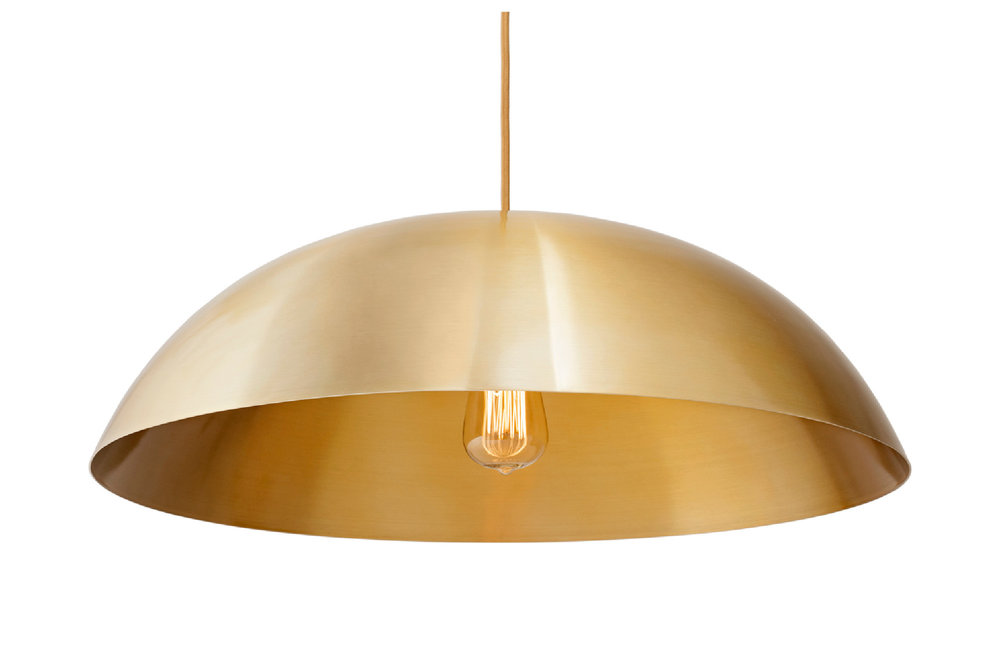 DOME lamp in Brass metal-look / BULB: Teardrop Vintage Incandescent with Squirrel Cage filament