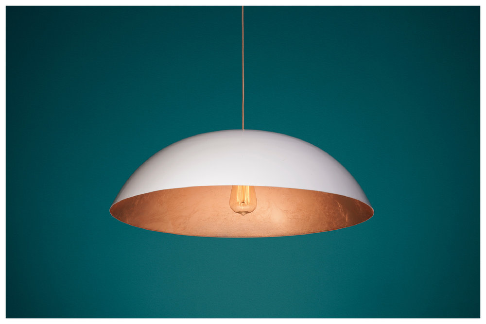DOME lamp with Gloss White exterior and Copper Leaf interior / BULB: Vintage Incandescent Teardrop Squirrel Cage filament