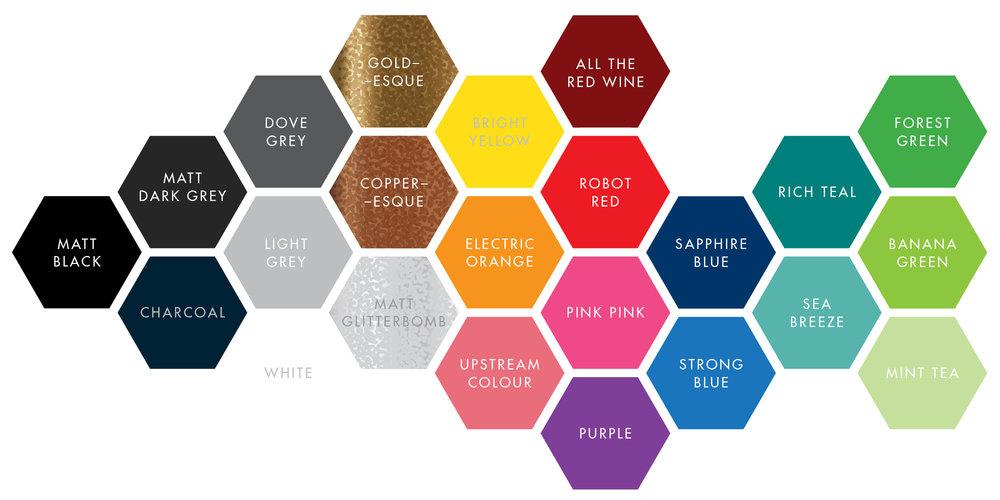 COLOUR COLOUR COLOUR powder-coating colour options