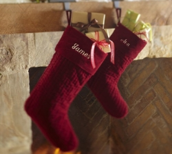 Oh my god, you guys, James and Ava from the Pottery Barn catalog have the same stockings as we do. This is so embarrassing.