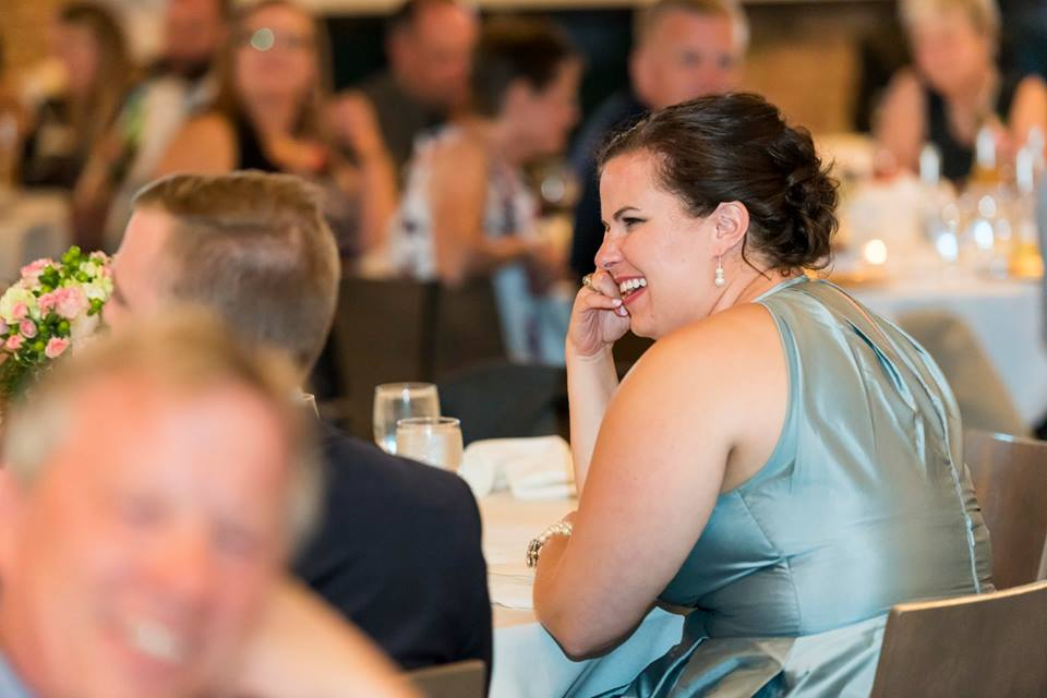 (photo has nothing to do with this post, except for I was similarly delighted all day at Eva's wedding. Snap by the awesome Ian of Hanson Photography!)