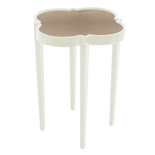 Tini Table IV in Cream with Tan Shagreen Top