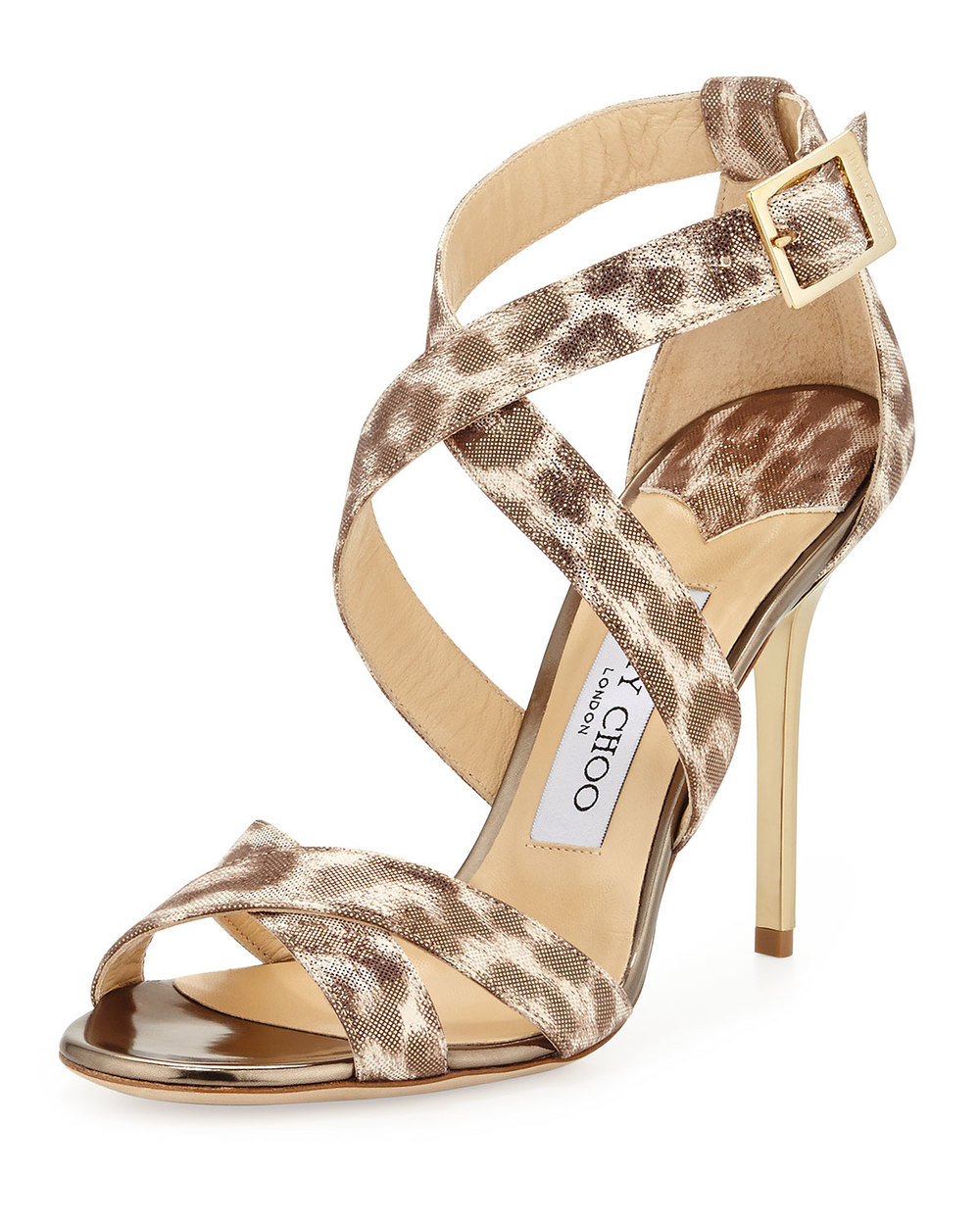 JIMMY CHOO LOTTIE LEOPARD-PRINT METALLIC SANDAL, GOLD was $695 now $388.80