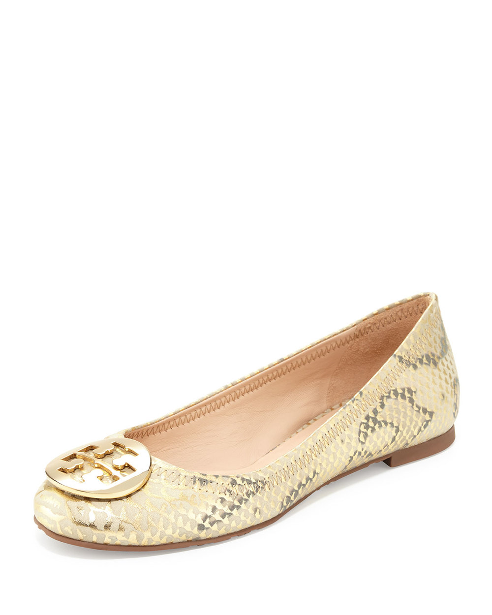 TORY BURCH REVA METALLIC BALLERINA FLAT, NATURAL GOLD as $250 now $149.60