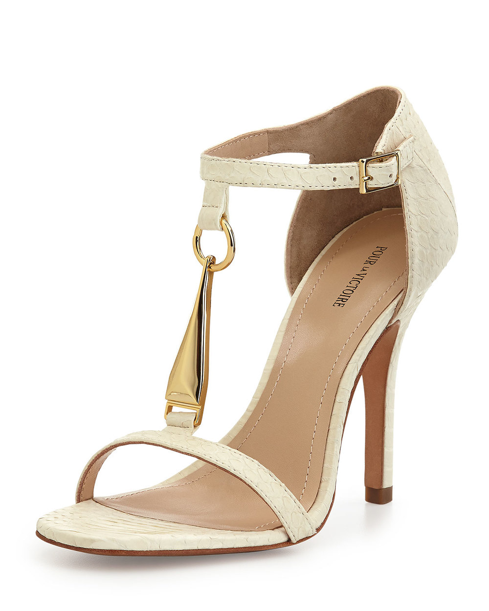 POUR LA VICTOIRE YOLANDA GOLDEN T-STRAP DRESS SANDAL, WHITE was @265 now $92.50