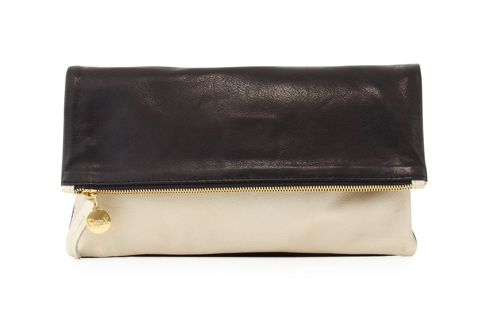 Clare V. Colorblock Supreme Pebbled Leather Foldover Clutch was $220 now $154