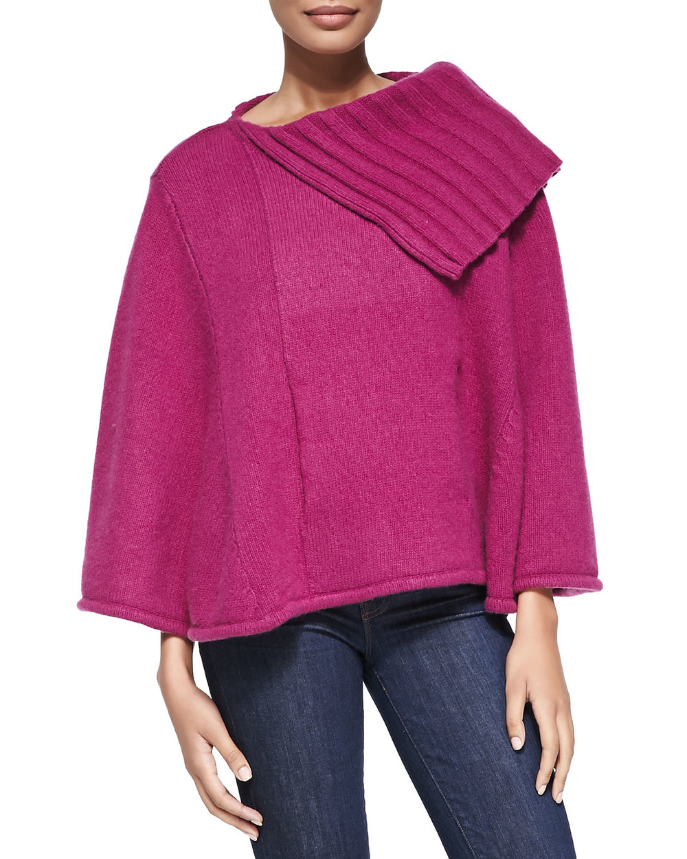 PORTOLANO CASHMERE PONCHO IN PLUMBERRY was $365 now $265.50