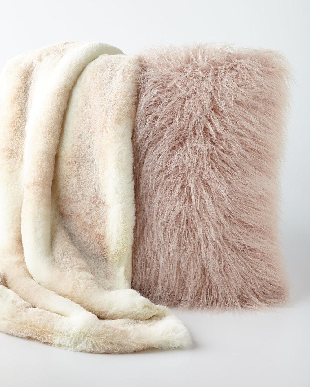 Mongolian Pillow & Faux Fur Blanket