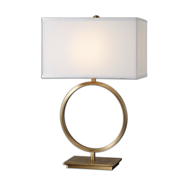 3. Lovely Lighting - A pair of lamps is a fantastic way to provide task lighting and reduce the eye strain of a too-bright laptop monitor. I am smitten with this brushed brass circular lamp that is both a statement piece and an efficient use of surface space at the same time. Shop it here >>