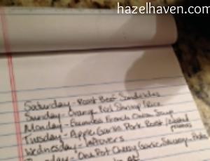 Written Meal Plan