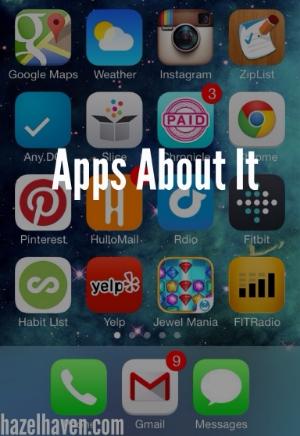 Top left-right:GoogleMaps,Weather,Instagram,ZipList,Any.Do, Slice,Chronicle,Chrome,Pinterest,HulloMail,Rdio,Fitbit,Habit List, Yelp,Jewel Mania,FITRadio,Phone,GmailandMessages.