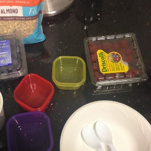 Making parfaits using the 21 Day Fix food guide containers: 1 purple, 1 red and 1 yellow.
