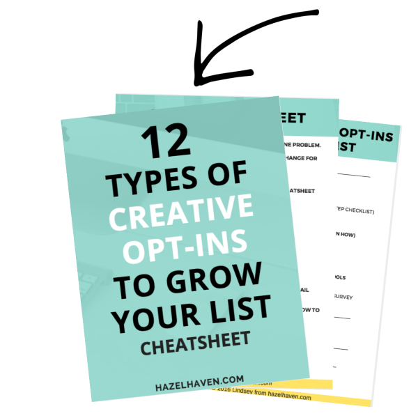 12 types of creative opt-ins to grow your list cheatsheet