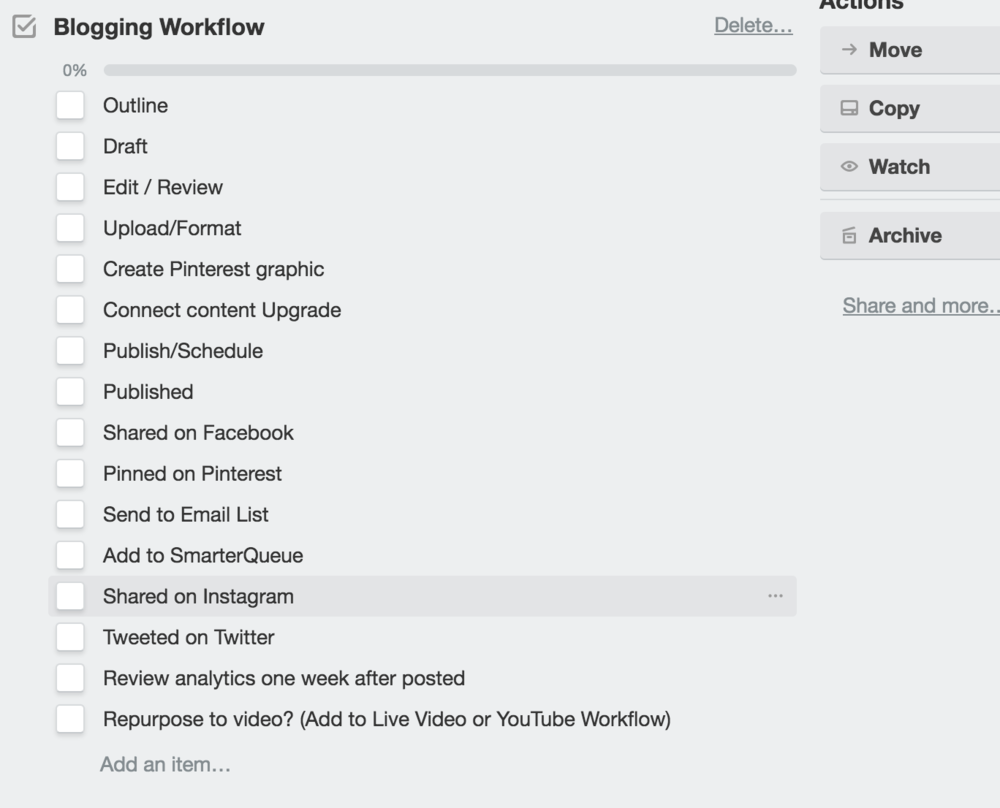 blogging workflow via trello