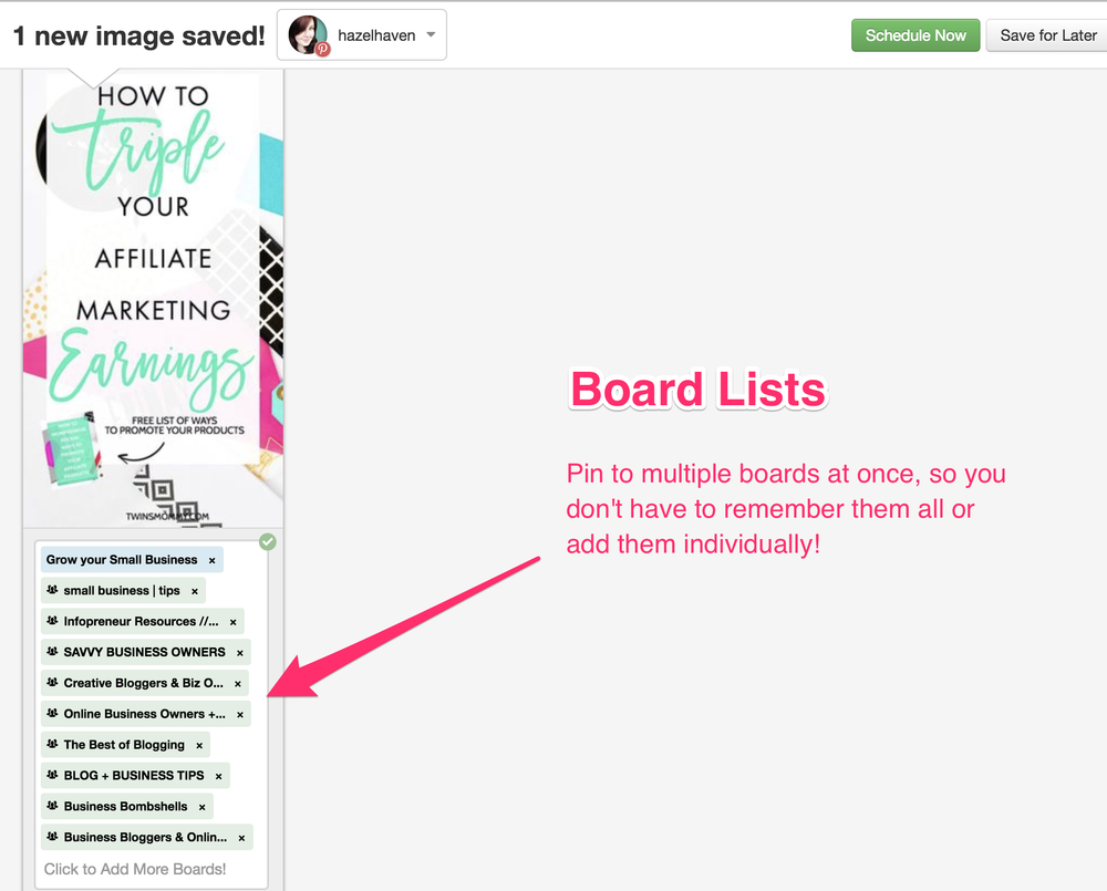 Pin to multiple boards at once instead so you don't have to remember them all or add them individually! #blogging #tailwindapp