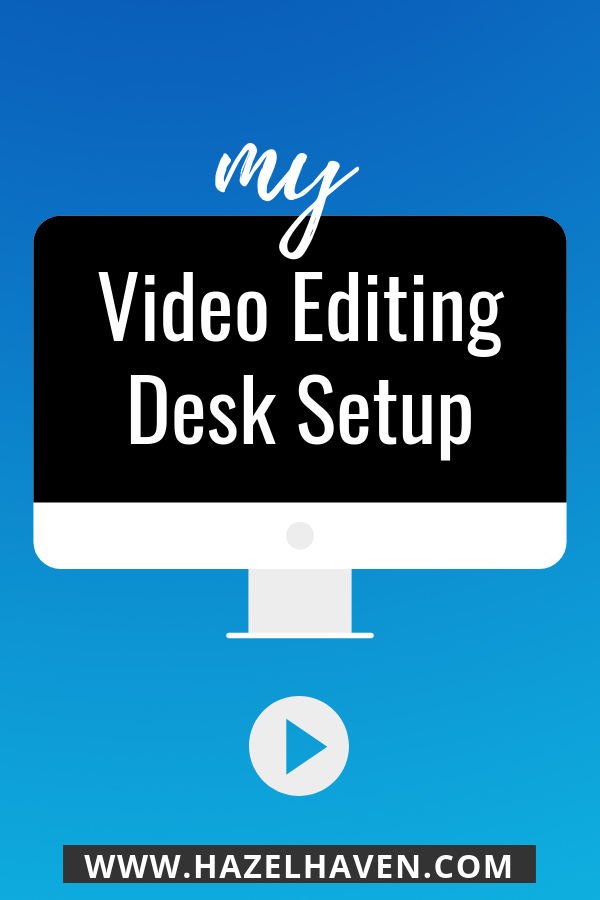 My video editing desk setup with external monitor and macbook pro #videoediting #desksetup #workspace
