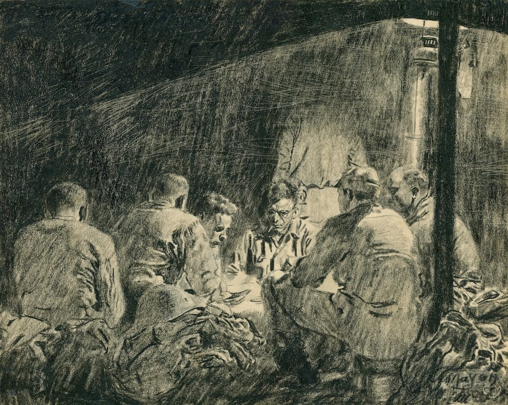 Poker game, 1945