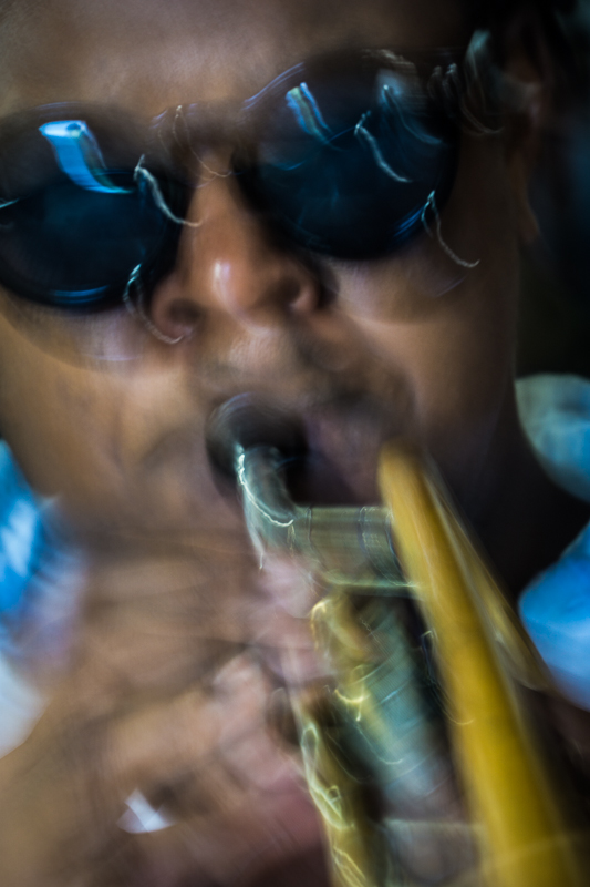 Clinton Patterson on trumpet during the BH session at Bucket's Moving Company. Credit Eron Rauch.