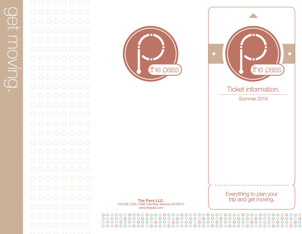 The outside of the standard brochure, using the rocky-red and sandy brown color swatches. The left panel is the front cover of the brochure, the middle is the back when folded, and the right panel is the inside flap, intended for writing notes, attaching business cards or other necessary information.