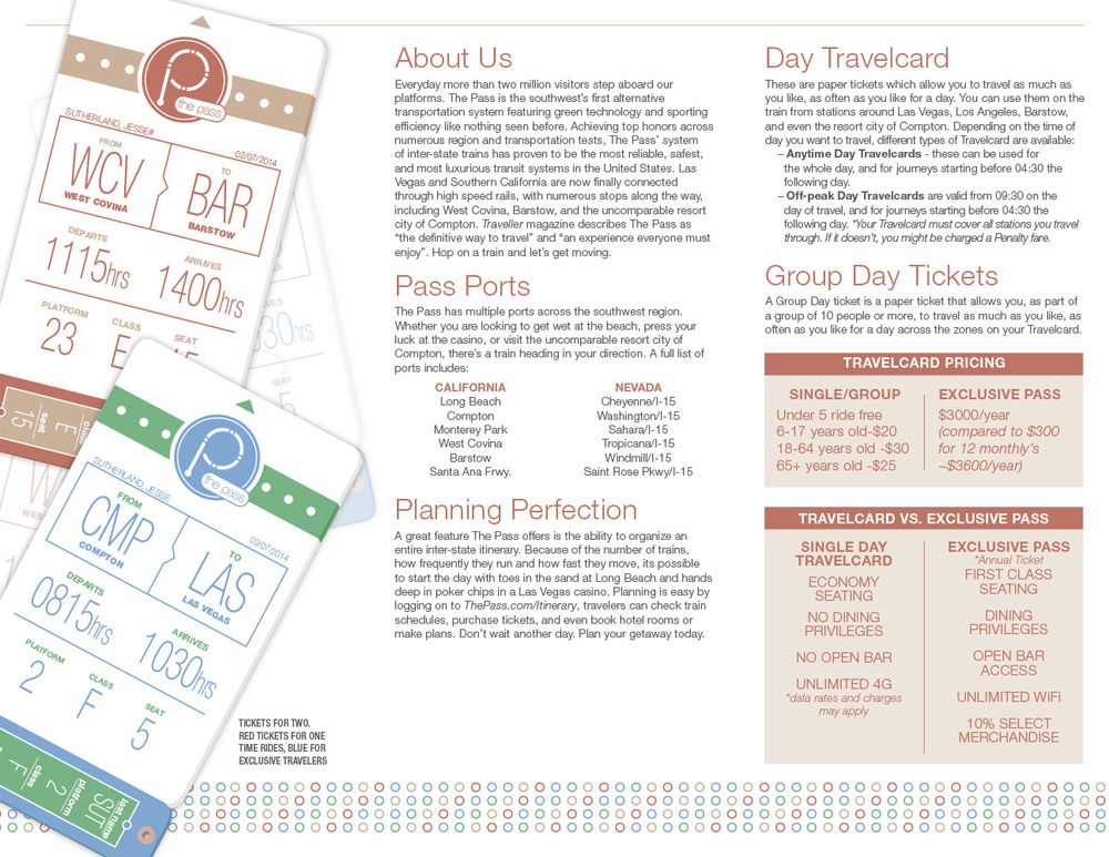 The inside of the standard brochure. Both ticket designs are represented here. The center panel is general information that applies to The Pass as a hole, while the right panel is information exclusive to this brochure.
