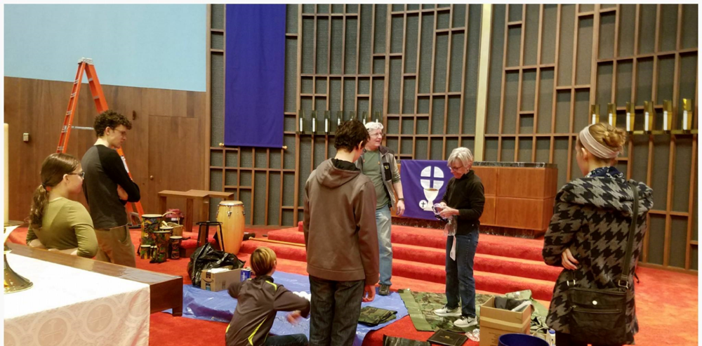 Manga Bible Students help with cleaning and restoring the wood in the Sanctuary.